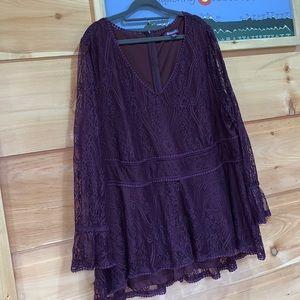 EUC Roamans 26W eggplant lace blouse